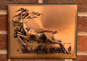 Vintage 3D Copper Picture Wall Hanging Leaping Antelope/ Deer 1970s VGC