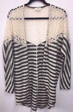 LN Umgee USA Bohemian Crochet Shoulder Kimono Cardigan Sweater Wrap Large L