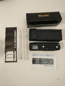 Minolta Auto Winder D Tested, works great, New Leatherette, Case, Box And Manual