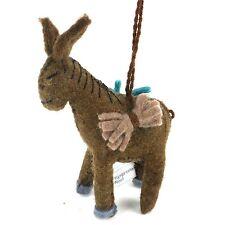 Handmade Artisan Needle Felt Wool Baby Donkey Christmas Tree Holiday Ornament