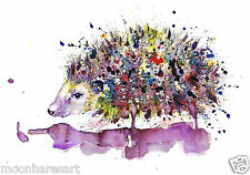 A4 HEDGEHOG PAINTING PRINT FROM ORIGINAL WATERCOLOUR BY MOONHARES ART