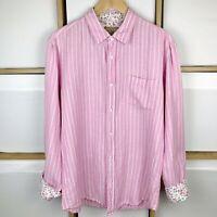 """Joe Browns Mens Pink Stripe Linen Blend Long Sleeve Shirt Size L VGC Chest 46"""""""