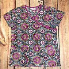 Aviva Hippie Scrub Top Women Size Small Medical Uniform Top