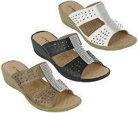 Cushion Walk Slip On Sandals Lightweight Comfort Open Toe Jewel Bar Womens Shoes