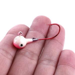 50 pcs 1/4 oz 4cm Lead Jig Heads Fishing Hooks Crappie Lure Bait Tackle 5 Colors