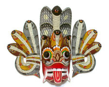 "14"" Sri Lankan Wooden Hand Carved Cobra Mask Art Sculpture Wall Hanging Decor"