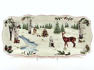 """NEW Better Homes & Gardens WINTER FOREST 17"""" Rectangular Platter Tray Heritage"""