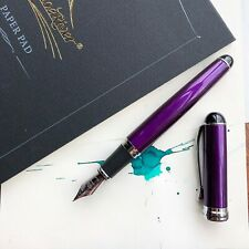 Jinhao X750 Royal Purple Silver Plated Trim Fountain Pen Fine Nib