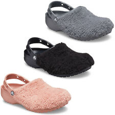 Crocs Womens Classic Fuzz Mania Clogs Faux Fur Winter Slip On Slippers Shoes