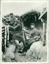 1914 World War I Outpost Shelter and Trench Original News Service Photo