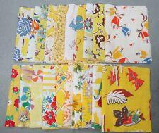 "20 Vintage 5"" X 8"" Yellow Feedsack Pieces Quilt Fabric Charms Flour Sacks"