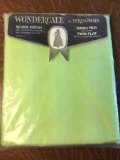NOS Vintage SPRINGMAID WONDERCALE No-Iron Percale Twin Flat Sheet Lime Green New