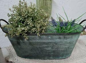Flowerpot Metal Tub Planter Bowl Plant Pot Vintage Shabby