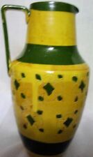 Hand Painted Art Pottery Olive Green Mustard Yellow Water Milk Pitcher Italy