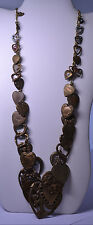"""ARTISAN HANDCRAFTED 29.5"""" LONG NECKLACE W/ 36 DIFFERENT VINTAGE HEART CHARMS"""