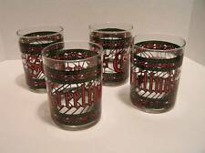 4 Vintage Holiday Drinking Glasses Seasons Greetings Stained Glass Houze