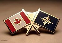 Canada - Canadian & Nato Flags Veterans Gold plated Lapel Pin