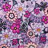 BonEful Fabric FQ Cotton Quilt Pink Black White Yellow FLOWER B&W Dot VTG Calico