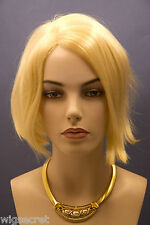 Short Human Hair Blonde Brunette Red Straight Wigs