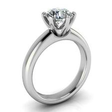 Over Certified 2.00ct Off White Round Moissanite Engagement Ring 14k White Gold