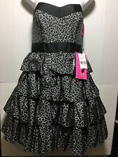 Betsey Johnson Leopard Print Tiered Party Cocktail Dress Size 8 Gray Black NWT