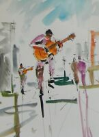 JOSE TRUJILLO ORIGINAL Watercolor Painting Street Musician Figures COA 9X12