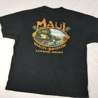 Harley Davidson Maui Lahaina Hawaii Mens Sz XL TShirt Black Cotton 2007 HD