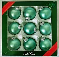 Vintage Christmas Soft Green Glass Ball Tree Ornaments 9 In Box Made in Germany