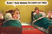 RUDE RISQUE COMIC BAMFORTH HUSBAND WEARS CARPET OUT BETWEEN BEDS POSTCARD UNUSED