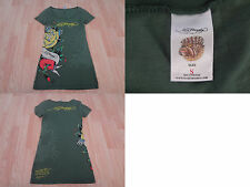 Women's Ed Hardy S Green Shirt Rose & Heart