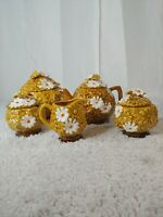Vtg FRED ROBERTS Japan Golden Harvest Daisy Pattern Teapot Sugar Creamer 5 piece