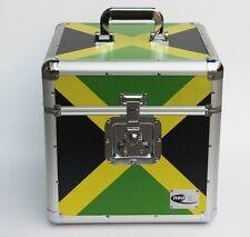 """Zilla LP100 12"""" Vinyl Record Box Storage Flight Case Aluminium Jamaica Flag"""