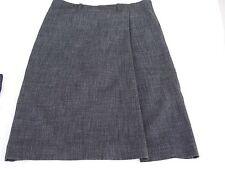 H&M women's dress suit skirt gray black 6 faux wrap back pockets below knee
