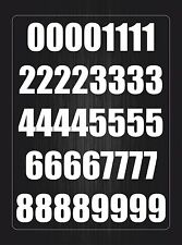Number sheet sticker vinyl decal car bike door wheelie bin white race