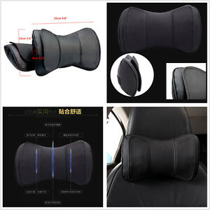 2 x Black Genuine Leather Car SUV Neck Rest Cushion Double Layer Headrest Pillow