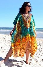 Pure Silk Kaftan PLUS SZ 12 14 16 18 20 22 24 OSFM natural LOVE SASCHA x BNWOT!