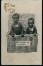 Black Americana Child Baby Boy Box South Africa vintage old 1920s photo postcard