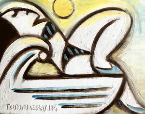 Woman Sunbathing On Jet Ski Art Summer Artwork Abstract Original Oil Painting