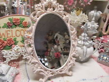 Ornate Standing Oval Mirror, Ballet Slipper Pink, Distressed, Cottage, Chic
