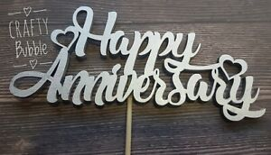 Happy Anniversary CAKE TOPPER - ANY YEARS  ANY COLOUR WOODEN - NOT CARD