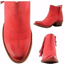 Womens Miss Macie Fashion Boots Size 8 M On The Fringe Zipper Red U7001-01 $230.