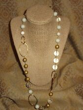 "Wendy Mink Handcrafted 925 Gold Tone Crystal Quartz Bead 24"" collar necklace"