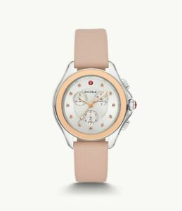Michele Cape Misty Rose Topaz Pink Gold & Silver Watch MWW27E000005 $495 NEW