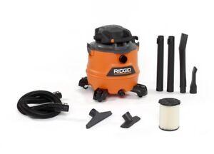 RIDGID Wet Dry Vacuum 6.5 hp 16 Gal. Cartridge Filter Casters Heavy-Duty Drum