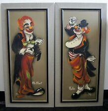 """Inez """"Mr. Mort and Koko"""" 1950's Original Watercolor Paintings 37x15"""" Clowns"""