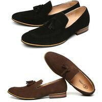 New Mens Slip On Loafers Real Suede Leather Casual Shoes Moccasin Smart UK Size