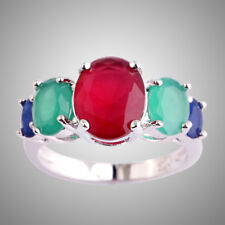 Gifts Ruby & Sapphire & Emerald Gemstone Silver 925 Ring Size 12 Free Shipping