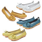 Women genuine Leather Flats Shoes Cut Outs Flats Comfort Shoes Moccasins I4Z2