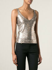 $690 SAINT LAURENT Women's Snake Python - Print Sequinned Tank Top size XS