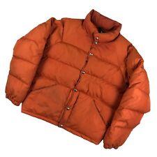 Vintage LL Bean Goose Down Jacket Men's Medium Orange Bubble Puffer Snap Button